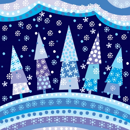 Background with Christmas trees and motifs under night sky Vector