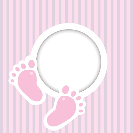 young girl feet: Background with two child foot steps and place for text