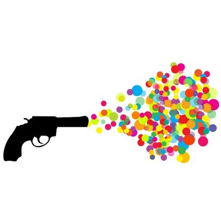 Black revolver with colored bubbles Vector