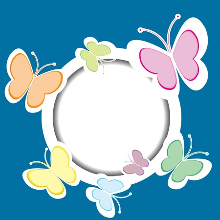 round: Frame with butterflies and place for your text