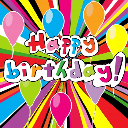 birth day: Happy birthday card with colored sunburst