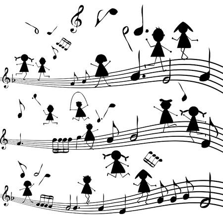 Muziek noot met gestileerde kinderen silhouetten