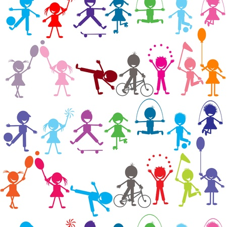 Seamless background with stylized colored kids playing Vector
