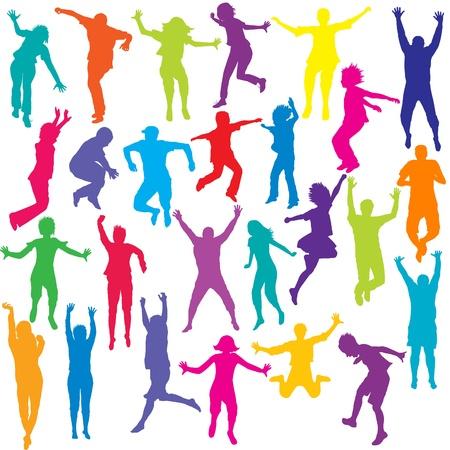 Set van gekleurde mensen en kinderen silhouetten springen