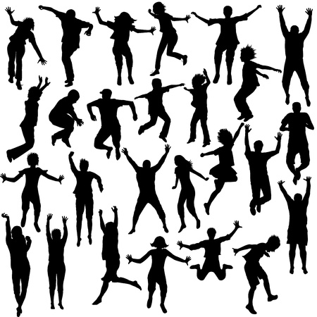 hand movements: Set of jumping children shilhouettes