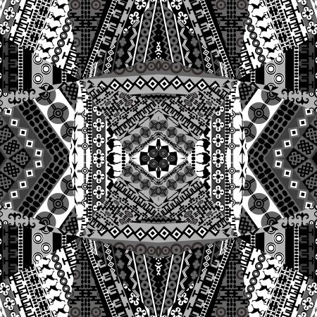 Background with mosaic of African black and white patterns Vector