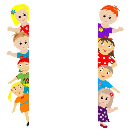 shadow people: Banner with stylized kids around