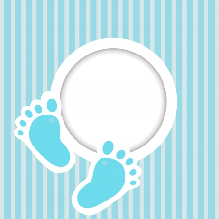 girls feet: Blue card with baby feet Illustration