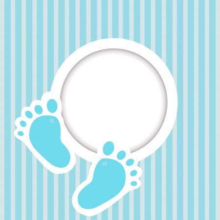 huellas pies: Tarjeta azul con los pies del beb� Vectores