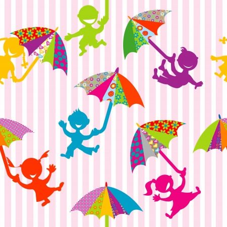 Children silhouettes with doodle umbrellas Stock Vector - 18497834