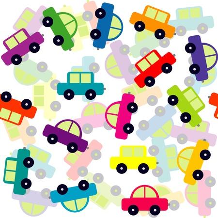 tren caricatura: Fondo inconsútil con coches de juguete de color