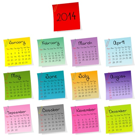 2014 stickers calendar Stock Vector - 19320320