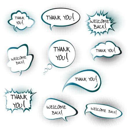 Chat bubbles with Thank you and Welcome back messages Vector