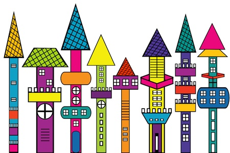 Doodle castle, stylized colored houses Vector
