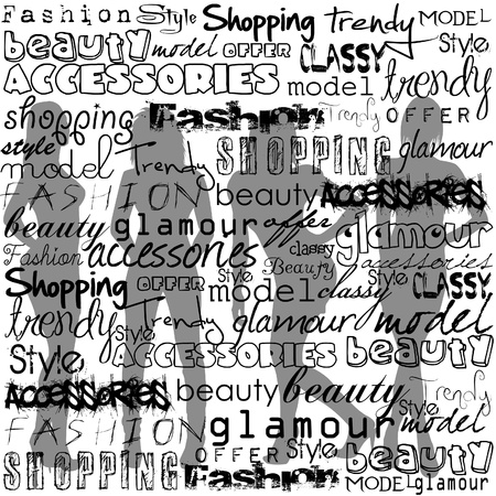 word art: Fashion typography with text and women silhouettes