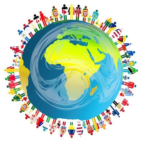 happy planet earth: Concepto de la paz con el planeta Tierra y la gente Vectores