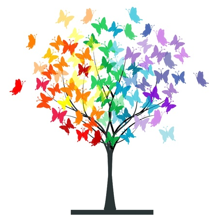 Butterflies rainbow tree Иллюстрация