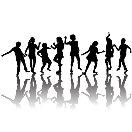 dancing silhouette: Group of children silhouettes dancing