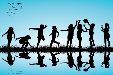 Groep kinderen silhouetten spelen buiten Stock Illustratie