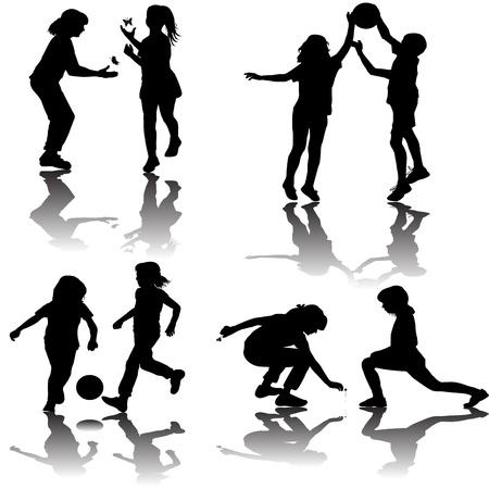 Groep van spelende kinderen silhouetten