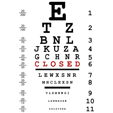 eye exams: Optical eye test with closed message