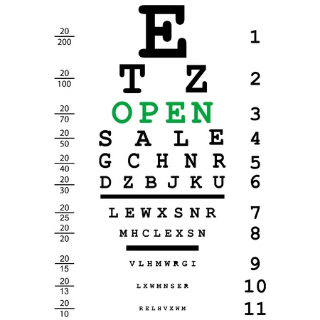 open eye: Optical eye test with open message