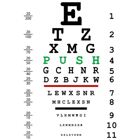 eye exams: Optical eye test with push message