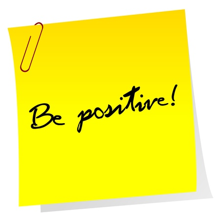 optimistic: Sheet of paper with optimistic message Illustration