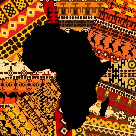 Afrika kaart op etnische achtergrond Stock Illustratie