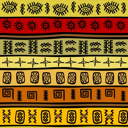 African hand-drown ethnic pattern, tribal background Vector