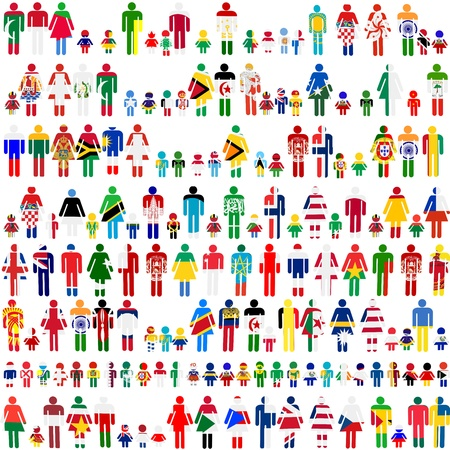 Background with people and children patternes in flags of World Vector