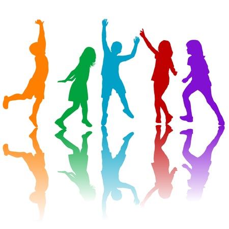 Gekleurde kinderen silhouetten spelen