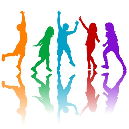 Colored children silhouettes playing
