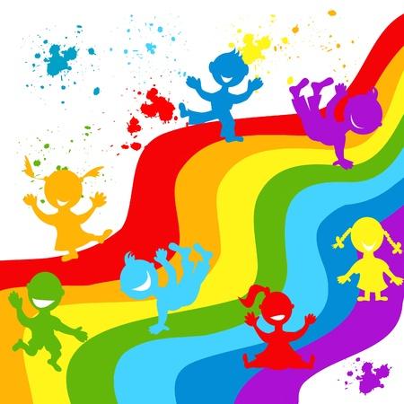 ahogarse: Ahogar a mano siluetas de los ni�os en los colores del arco iris