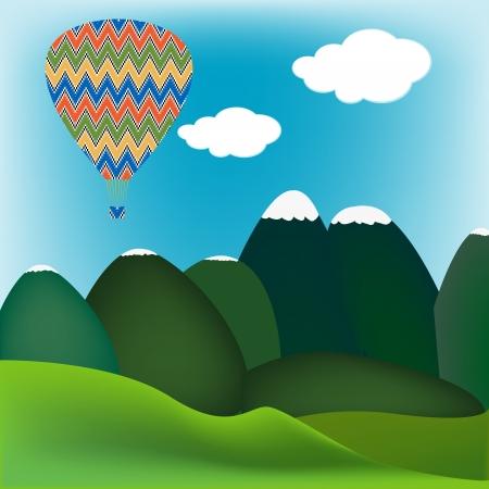 Hot air ballon over a mountain landscape Stock Vector - 21033746
