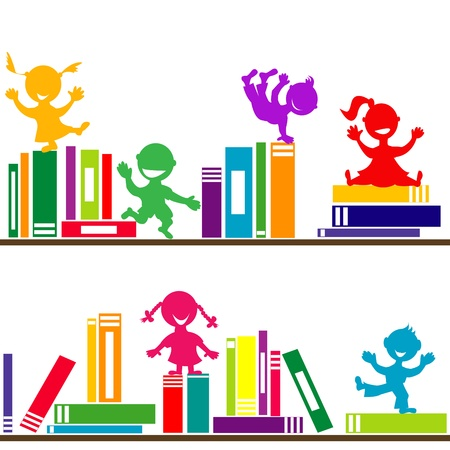Shelves with books and kids playing Illustration