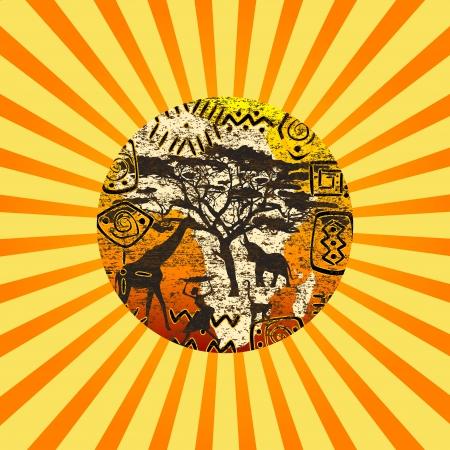 continente africano: Sunburst con fondo símbolos africanos