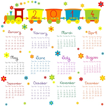 2014 calendar with train for kids Stock Vector - 21043481