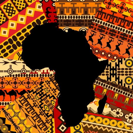 Africa map on ethnic background Vector