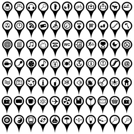 marcador: Colecci�n de mapa negro marcadores con se�ales internacionales de servicio Vectores