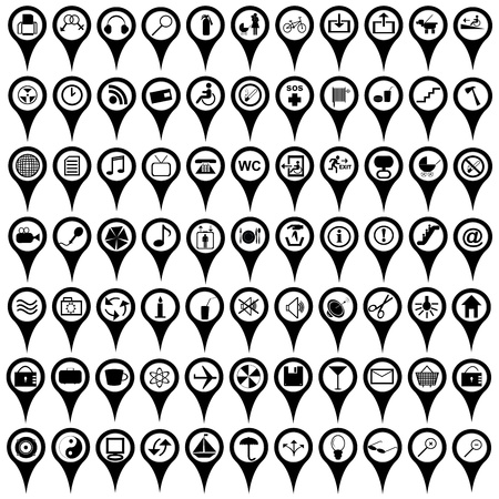 jelzÅ: Gyűjteménye fekete térkép markerek nemzetközi szolgáltatás jelek Illusztráció