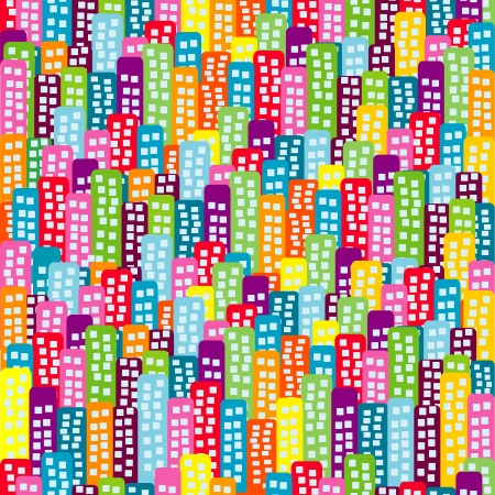 Doodle block of flats background, seamless pattern for kids Ilustracja