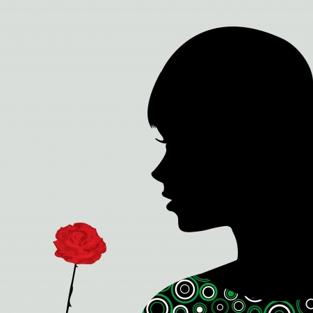smelling: Girl smelling a rose