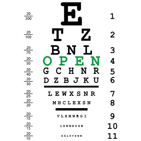 eye exams: Optical test with open text Illustration