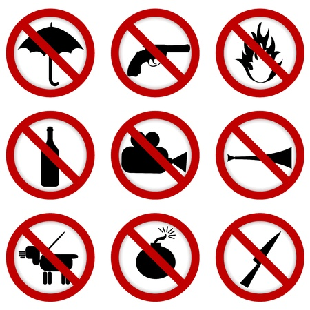 no photo: Prohibited signs for stadium access