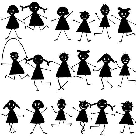 hand move: Set of black doodle children