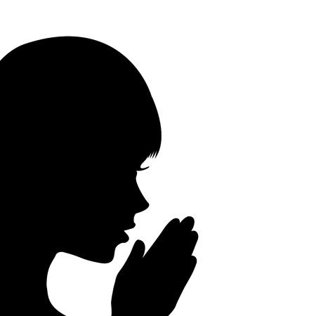 manos orando: Ni?a rezando Vectores