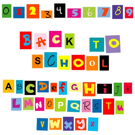 Back to school background with colored tellers and numbers Illustration