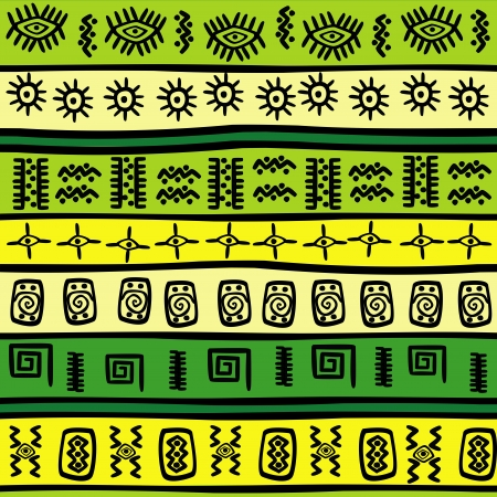 Background with green and yellow tribal ornaments Vector