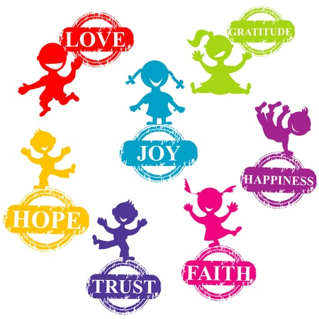 Doodle Kinder mit Briefmarken mit positiven Worten Standard-Bild - 21483473